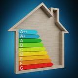 3D het teruggeven grafiek van de energieclassificatie in een blokhuis Stock Foto
