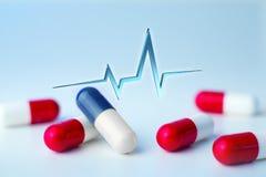 3d het teruggeven hart sloeg lijn op een medische achtergrond Stock Foto