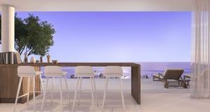 3d het teruggeven het dineren bar in kleine villa dichtbij mooi strand en overzees met zonsondergang Stock Afbeelding