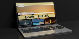 3d het teruggeven hotel online reserve Royalty-vrije Stock Afbeeldingen