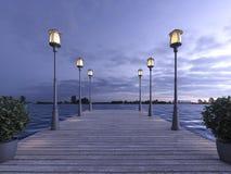 3d het teruggeven houten pijler dichtbij overzees met lamppost in schemeringscène Stock Foto's