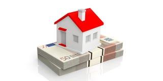 3d het teruggeven huis op een stapel van 50 euro bankbiljetten Royalty-vrije Stock Afbeeldingen