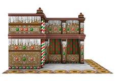 3D het Teruggeven Huis van de Kerstmispeperkoek op Wit Royalty-vrije Stock Fotografie