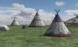 3D het Teruggeven Inheems Amerikaans Dorp Royalty-vrije Stock Foto's