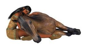 3D het Teruggeven Inheems Amerikaans Vrouw en Paard Stock Fotografie