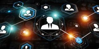 3D het teruggeven interface van de zakenmanverbinding Royalty-vrije Stock Afbeelding