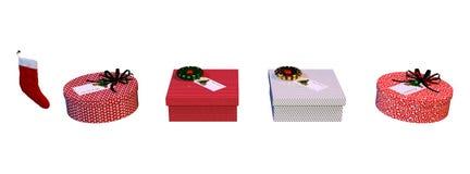 3D het Teruggeven Kerstmisgiften op Wit stock foto's