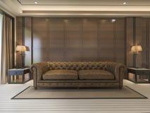 3d het teruggeven klassieke bank met luxedecor en aardig meubilair Stock Afbeelding