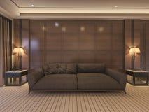 3d het teruggeven klassieke bank met luxedecor en aardige bank Stock Afbeelding