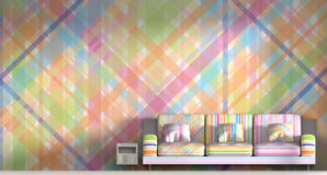 3D het teruggeven kleurrijke ruimte binnenlandse achtergrond stock illustratie