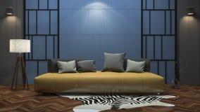 3d het teruggeven kleurrijke uitstekende woonkamer met aardig decor Stock Afbeelding