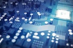3D het teruggeven Kringsraad De achtergrond van de technologie Het concept van centrale Computerbewerkers cpu Motherboard digital Stock Afbeelding