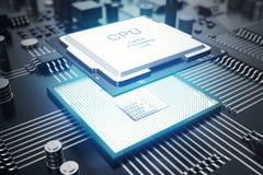 3D het teruggeven Kringsraad De achtergrond van de technologie Het concept van centrale Computerbewerkers cpu Motherboard digital Stock Foto's