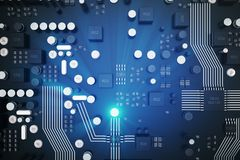 3D het teruggeven Kringsraad De achtergrond van de technologie Het concept van centrale Computerbewerkers cpu Motherboard digital Royalty-vrije Stock Afbeeldingen