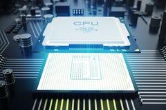 3D het teruggeven Kringsraad De achtergrond van de technologie Het concept van centrale Computerbewerkers cpu Motherboard digital Stock Foto