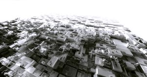 3D het Teruggeven lichte pakhuis cyber stad van de krottenwijk, ruimtestati Stock Afbeelding