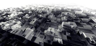 3D het Teruggeven lichte pakhuis cyber stad van de krottenwijk, ruimtestati Stock Foto's