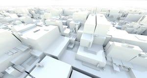 3D het Teruggeven lichte pakhuis cyber stad van de krottenwijk, ruimtestati Stock Fotografie