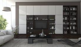 3d het teruggeven luxewoonkamer met donkere hout en boommening van venster Stock Afbeelding