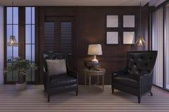 3d het teruggeven luxewoonkamer met klassiek meubilair in schemeringscène Stock Afbeeldingen