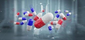 3d het teruggeven medische pillen op een medische achtergrond Stock Fotografie