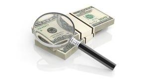3d het teruggeven meer magnifier glas op dollar neemt nota van stapel Stock Afbeeldingen