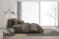 3d het teruggeven minimale retro slaapkamer met de winter en boommening Stock Foto