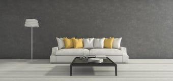 3d het teruggeven minimale rode ruimte met aardig eenvoudig meubilair Royalty-vrije Stock Afbeeldingen