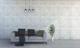 3d het teruggeven minimale stijlbakstenen muur met mooie bank Royalty-vrije Stock Afbeeldingen