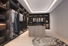 3d het teruggeven minimale zolder donkere houten gang in kast met garderobe Stock Afbeeldingen