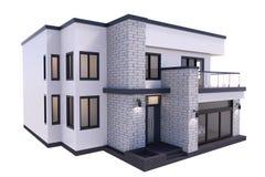3d het teruggeven modern huis op witte achtergrond stock illustratie