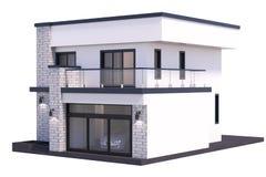 3d het teruggeven modern huis op witte achtergrond vector illustratie