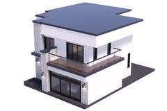 3d het teruggeven modern huis op witte achtergrond royalty-vrije illustratie