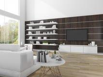 3d het teruggeven moderne houten woonkamer met witte bank Stock Afbeelding