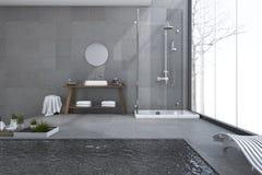 3d het teruggeven moderne pool in zolderbadkamers met licht van venster Royalty-vrije Stock Foto's