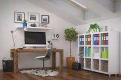 3d het teruggeven - moderne werkplaats - huisbureau Royalty-vrije Stock Fotografie