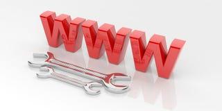 3d het teruggeven moersleutel met rood wwwsymbool Royalty-vrije Stock Afbeelding