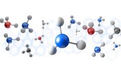 3d het teruggeven molecule op een kleurenachtergrond Stock Fotografie