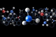 3d het teruggeven molecule op een kleurenachtergrond Stock Afbeeldingen