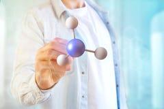 3d het teruggeven molecule op getoond op een medische interface Royalty-vrije Stock Afbeelding