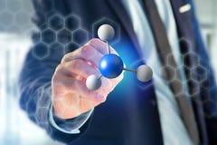 3d het teruggeven molecule op getoond op een medische interface Stock Afbeelding