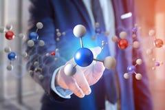 3d het teruggeven molecule op getoond op een medische interface Stock Afbeeldingen
