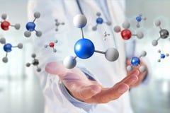 3d het teruggeven molecule op getoond op een medische interface Stock Fotografie