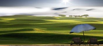 3d het teruggeven mooi landschap met aardige kleur en wolken Royalty-vrije Stock Foto's