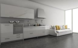 3d het teruggeven mooie keuken dichtbijgelegen het leven streek met daglicht Royalty-vrije Stock Foto