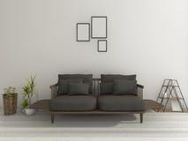 3d het teruggeven mooie zachte zwarte bank met installatie in aardige woonkamer Stock Fotografie