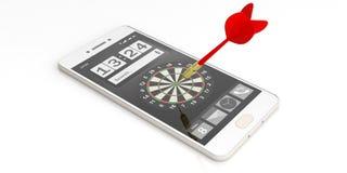 3d het teruggeven pijltje die een doel op het smartphonescherm streven Royalty-vrije Stock Fotografie