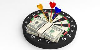 3d het teruggeven pijltjes en dollars op doel op witte achtergrond Royalty-vrije Stock Afbeelding