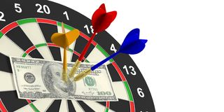 3d het teruggeven pijltjes en dollars op doel op witte achtergrond Stock Afbeelding