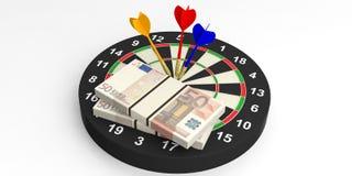 3d het teruggeven pijltjes en euro op doel op witte achtergrond Stock Fotografie